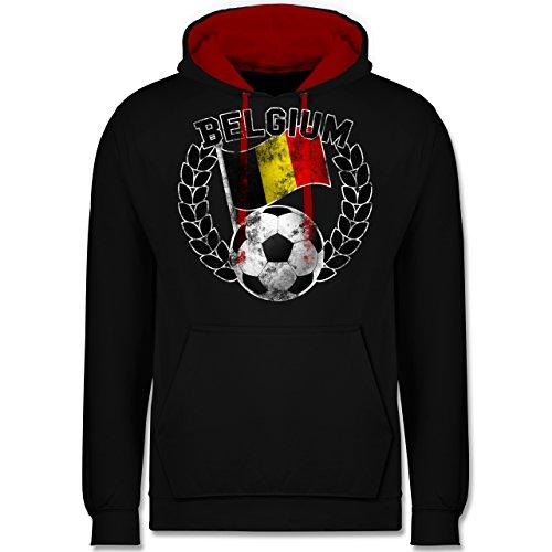 Fußball-WM 2018 - Russland - Belgium Flagge & Fußball Vintage - Kontrast Hoodie Schwarz/Rot