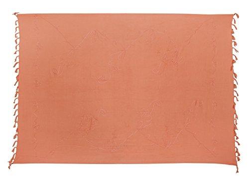 Sarong Handbestickt inkl. Sarongschnalle im Herz Design - Viele Größen und exotische Farben und Muster zur Auswahl - Pareo Dhoti Lunghi Lachs
