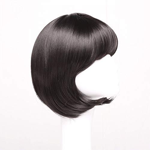 Flapper Haar Kostüm - Perücke Kurze Glatte Haare Flapper Cosplay Kostüm Bob Perücken (Color : Black, Size : 35cm)