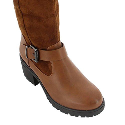 Ideal Shoes–Stivali bimatière a suola crantée jihana Marrone