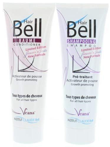 HairBell Shampoo + Conditioner - flowers'n'fruits (2x 250ml) - Neue Formel + Neuer Duft - HairJazz HairPlus