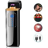 ASANMU Mechero Electrico, Mini USB Encendedor Electrico Pantalla Táctil Mechero Mechero Electric, sin Llama, a Prueba de Fuego, a Prueba de Viento, con Indicador de Batería, Cable USB y Caja de Regalo