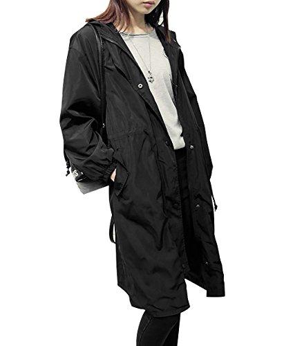 LAI MENG Damen Jacke Long Leichte Jacke Hoodie Frühling Sommer Übergangsjacke mit Reißverschluss Schwarz Gr 42 44 46