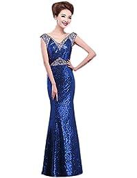 YiyiLai Damen Frauen Glänzend Design Hochzeit Party Kleid Coctaikleid  Abendkleid Maxikleid… 46c7029334