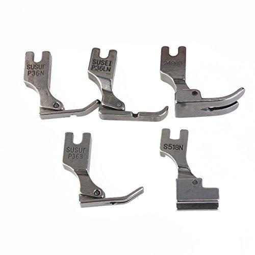 Industrie-nähmaschine (UEETEK 5Pcs Füße Presser Nähfüße für Juki Industrie Nähmaschine S518NS P36LN P36N P35 P363 (Silber))