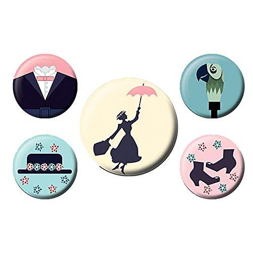 Echte Disney Classic Mary Poppins 5 Stück Abzeichen Set Nanny Magical