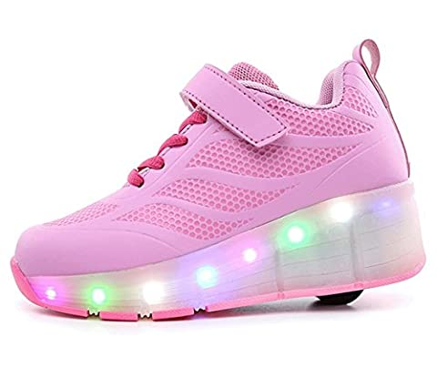 QOUJEILY Roller Trainers Led Light Flashing Sport Wheel Shoes Pink (12 Child UK, Pink)