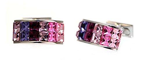 Cristallo pietra gemelli salmone amethyst fucsia rosa antico pink mauve + argento box