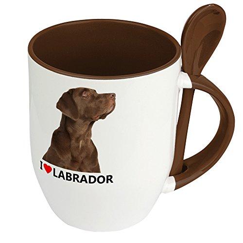 Hundetasse Labrador - Löffel-Tasse mit Hundebild Labrador - Becher, Kaffeetasse, Kaffeebecher, Mug - Braun -