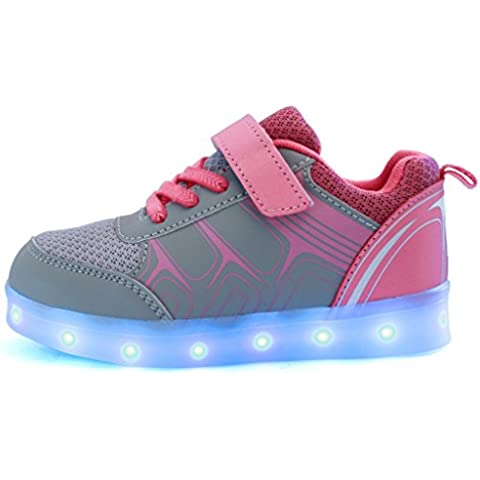 DoGeek Zapatos Deportivos Para Niños Niñas 7 Color USB Carga LED Luz Glow Luminosos Light Up USB Velcro Flashing Sneakers (Elegir 1 tamaño más grande)