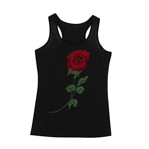 Maglia di stampa, Longra Le donne iniziano a stampare le magliette senza maniche con o-collo Nero