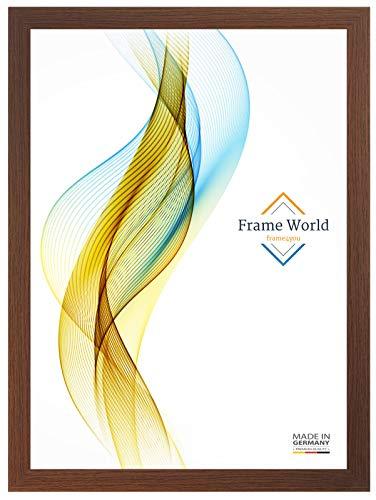 Frame World FW35 Bilderrahmen für 60 cm x 35 cm Bilder, Farbe: Wenge-Braun, MDF-Holz Rahmen nach Maß mit entspiegeltem Acrylglas, Aussenmaß: 65,6 cm x 40,6 cm