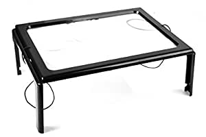 Tabletop Magnifying Glass - Full Sized Magnifier with LED Light and Folding Stand