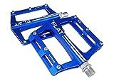 FrontStep Pedali Antiscivolo in Alluminio Pedali per Bicicletta Facili per MTB/Pedale Mountain Bike/Pedale BMX con Perno in Acciaio CR-Mo (Blu)