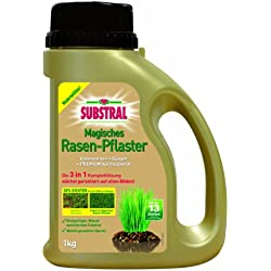 Substral Magisches Rasen-Pflaster - Rasenreparatur - Mischung aus Rasensamen, Premium Keimsubstrat und Dünger im praktischen Streuer - 1 kg für bis zu 5 m²