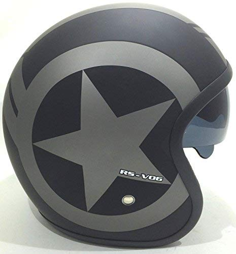 Moto Casco Jet VIPER RS-V06 Moto Touring Casco Moto Scooter Casco Donna (M, STAR- Nero Opaco)