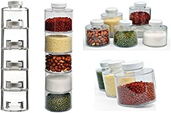 GETKO WITH DEVICE Plastic Stackable Carousel Spice Tower with Lids(Transparent) - set of 6