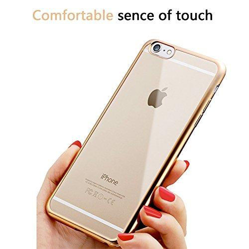 Iphone 6 Hülle, weiche TPU Silkon Schutzhülle mit der Grenze von der Farbe der Galvanik, für Iphone 6 6s Hülle -- Silber Gold