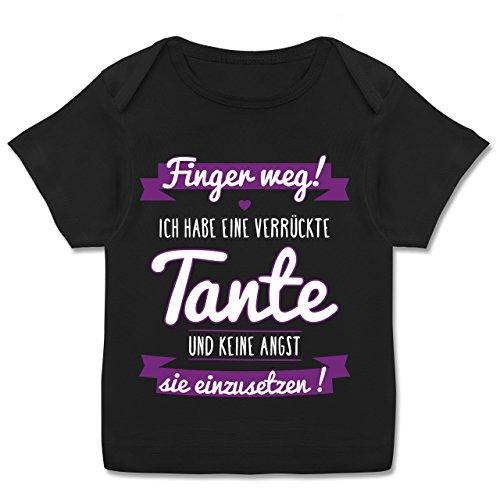 Shirtracer Sprüche Baby - Ich Habe eine Verrückte Tante Lila - 80-86 (18 Monate) - Schwarz - E110B - Kurzarm Baby-Shirt für Jungen und Mädchen in Verschiedenen Farben (T-shirts Junge, Lustige)