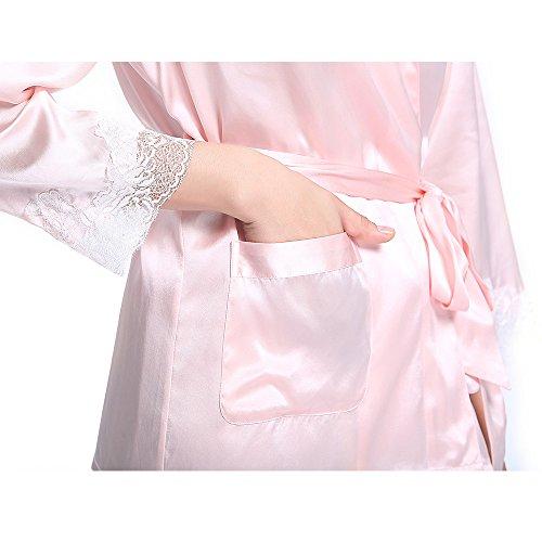 LilySilk Set Pigiama Seta Donna Lungo Di 100% Pura Seta 22 Momme Con Pizzo Rosa chiaro