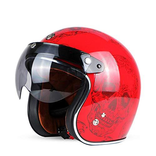 Motorradhelm Retro Open Motocross Motocross Jet Retro Helm Motorradhelm Red Skull W Visier XL -