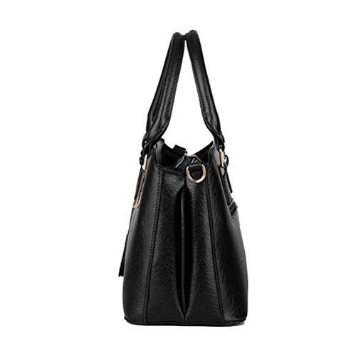 Thboxes - Borsetta da donna in ecopelle, borsa a tracolla alla moda con manici sulla parte superiore nero