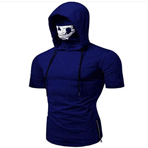 9d5819ae6954 SALEBLOUSE Halloween Mens Pure Color Pullover Short Sleeve Hooded  Sweatshirt Tops Blouse Mens Mask Skull Pure Sweatshirt Hooded Sweatshirt  Hoodies ...