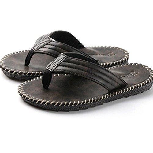 Baymate Uomo Sintetico Pelle Infradito Vacanza Casuale Sandali Pantofole Nero