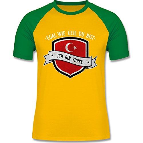 Shirtracer Länder - Egal wie Geil Du BIST - Ich Bin Türke - Herren Baseball Shirt Gelb/Grün