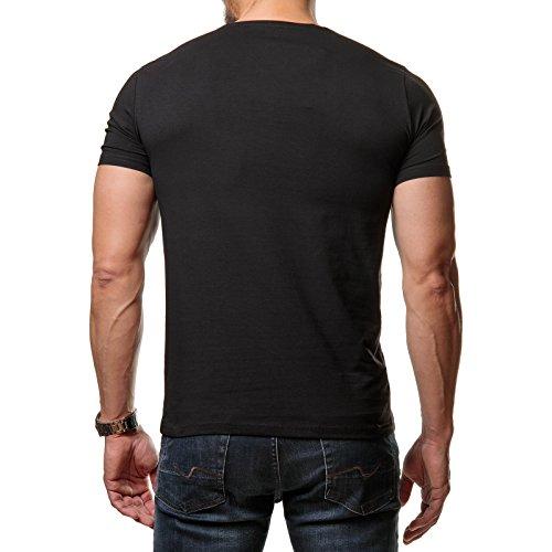 Young Rich Herren T-Shirt Basic Regular Fit Rundhals Kragen Schwarz Weiß Grau Rot 1701 Schwarz