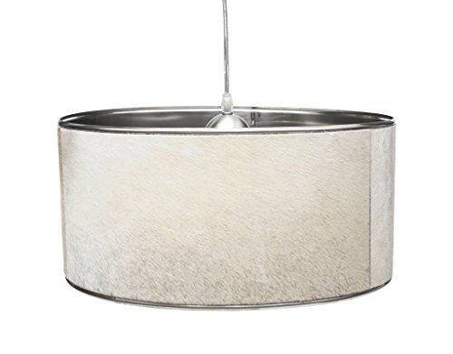 Brillibrum Design Pendellampe Aus Metall Mit Kuhfell Lampenschirm Unikat Deckenlampe Mit Fell Beige Grautöne Hängelampe (Beige/Grau, 35 cm) -