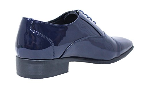 AK collezioni Scarpe uomo Class eleganti blu scuro lucide vernice linea  classica a608ef262dc