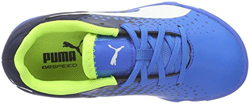Puma Unisex-Kinder Evospeed Sala Graphic Jr Fußballschuhe Blau (Electric Blue lemonade-White-PEACOAT 02)