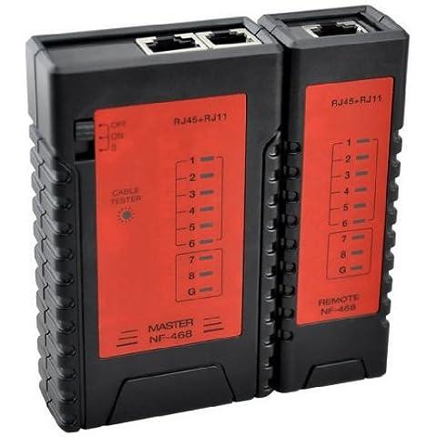 DEHANG - Medidor Comprobador Tester de Cables de Red Teléfono RJ45 RJ11 Localizador Detector Buscador de cables de