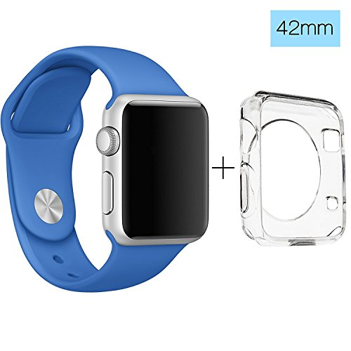 Apple Watch 42mm Band, ClockChoice Silicone Strap Sport Replacement Kit for iWatch, ROYAL BLUE | Bonus Case Included | No adapter needed | Includes 3 Pieces, for 2 Lengths | For Women and Men Use