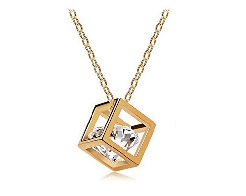 Glitz Fashion zircone ciondolo cubo magico oro - Collana Regalo
