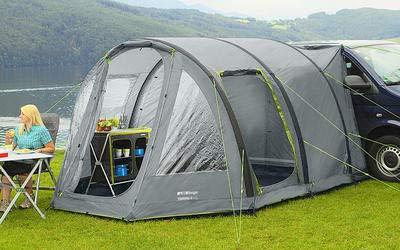 Preisvergleich Produktbild Berger Busvorzelt Touring-L Deluxe,  grau,  3000 mm Wassersäule,  freistehend nutzbar,  Regenrinnenhöhe ca. 180-220 cm,  Reisevorzelt Camping