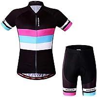Mujeres Ciclismo Juego de Ropa de Ciclismo Camisas Pantalones Cortos Transpirable Traje de Ciclismo Conjunto Deportes al Aire Libre Ropa de Bicicletas