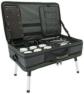 NGT, FLA Carp bivvy table system II (588), combinazione di contenitori e tavolino da bivacco, per pesca della carpa, verde, 51x 32x 19cm
