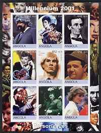 Angola 2001 Millennium series - Personalities (Satchmo Baden Powell J Gleason Bruce Lee Lincoln Lucille Ball Warhol Babe Ruth Diana) JAZZ MUSIC SCOUTS FILMS CINEMA ARTS BASEBALL JandRStamps -