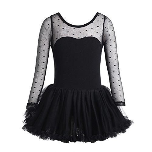 iixpin Mädchen Kleid Langarm Ballettkleid Kinder Ballett Trikot Ballettanzug mit Tütü Röckchen Prinzessin Kleid Gr. 92 104 116 128 140 Schwarz 128