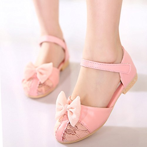 Zhhlinyuan 2 Color Summer Girls Beach Sandals Kids Lovley Lace Bowtie Princess Shoes pink