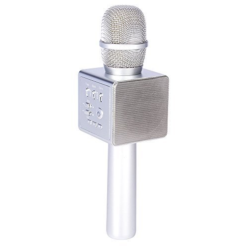 Kabelloses Mini-Karaoke-Mikrofon mit Micgeek i6 portablem Mini-Karaoke-Player, für iOS/ Android/ Tablet/ PC/ Laptop, ideales Spielzeug und Geschenk Portable silber