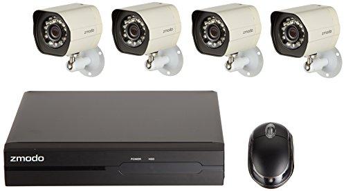 Preisvergleich Produktbild Zmodo HD-Sicherheitskamera-System mit 4 Indoor / Outdoor Nachtsicht 720P Überwachungskameras,  4CH 720P PoE NVR,  1TB HDD Smartphone QR-Code scannen,  ZM-SS714-1TB