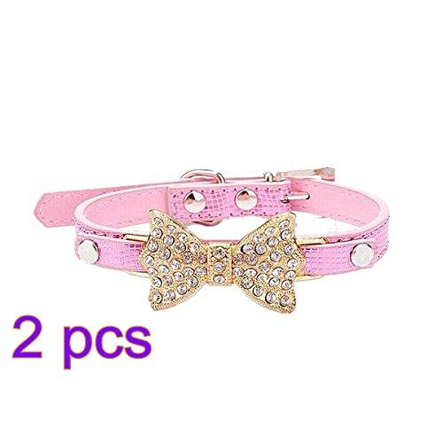 GODHL Splendido cristallo di diamante Bow coccodrillo collare dell'animale domestico cane catena 2PCS taglia S (rosa) - Go Go Animali Set