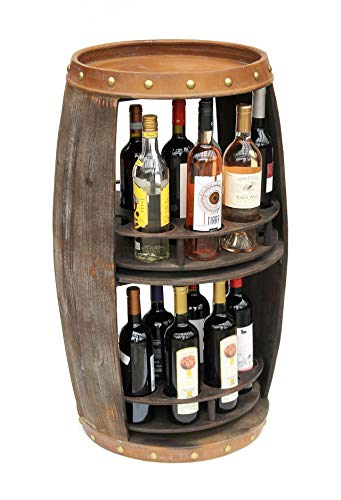 DanDiBo Weinregal Holz Braun 86 cm Weinfass Ablagen 360° Drehbar 9227-R Bar Flaschenregal Flaschenständer Fass Holzfass Weinschrank