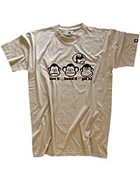 DIE DREI AFFEN - SAW IT - HEARD IT - GOT IT! - TISCHTENNIS TABLE TENNIS PING PONG T-Shirt Beige M