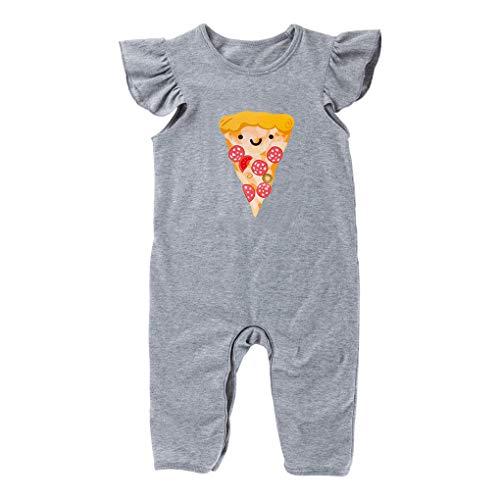 babysbreath17 Kleinkind Neugeborenes gekräuselte Ärmel Cartoon Pizza Printing Spielanzug Säuglingsbaumwoll Sunsuit Outfit Beiläufigen Kleidung grau 59