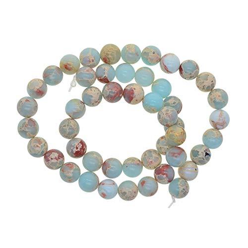 Sharplace Synthetischen Perlenkette Edelstein Perlen Spacer Perle Beads Zwischenperlen Bastelperlen zum auffädeln mit Strang - 8mm