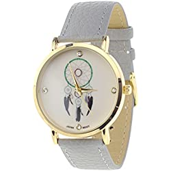 Dreamcatcher Japanese Movement Stainless Steel Back Gray Faux Leather Strap Watch